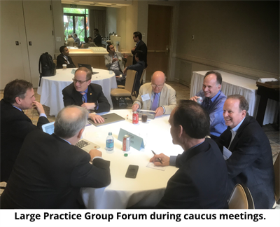 Large practice forum with caption